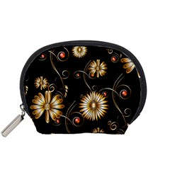 Golden Flowers On Black Background Accessory Pouches (Small)