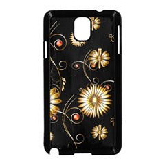 Golden Flowers On Black Background Samsung Galaxy Note 3 Neo Hardshell Case (Black)