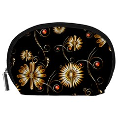 Golden Flowers On Black Background Accessory Pouches (Large)