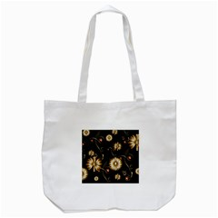 Golden Flowers On Black Background Tote Bag (White)