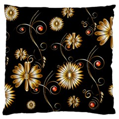 Golden Flowers On Black Background Large Flano Cushion Cases (One Side)