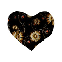 Golden Flowers On Black Background Standard 16  Premium Flano Heart Shape Cushions