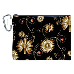 Golden Flowers On Black Background Canvas Cosmetic Bag (XXL)