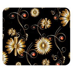 Golden Flowers On Black Background Double Sided Flano Blanket (Small)
