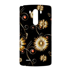 Golden Flowers On Black Background LG G3 Back Case