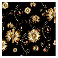 Golden Flowers On Black Background Large Satin Scarf (square)