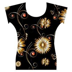 Golden Flowers On Black Background Women s Cap Sleeve Top