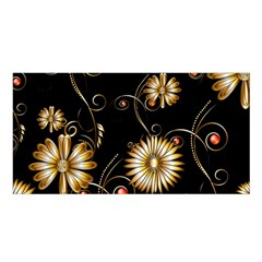 Golden Flowers On Black Background Satin Shawl