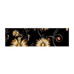 Golden Flowers On Black Background Satin Scarf (Oblong)