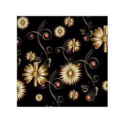 Golden Flowers On Black Background Small Satin Scarf (square)