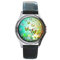 Flowers With Wonderful Butterflies Round Metal Watches