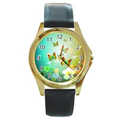 Flowers With Wonderful Butterflies Round Gold Metal Watches