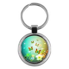 Flowers With Wonderful Butterflies Key Chains (Round)