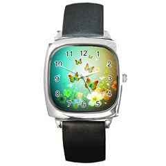 Flowers With Wonderful Butterflies Square Metal Watches