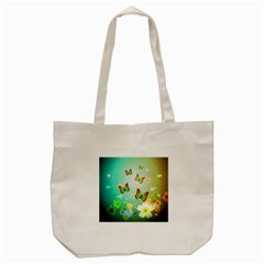 Flowers With Wonderful Butterflies Tote Bag (Cream)