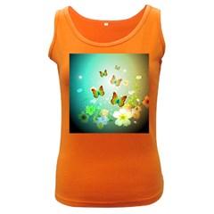 Flowers With Wonderful Butterflies Women s Dark Tank Tops