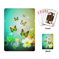 Flowers With Wonderful Butterflies Playing Card