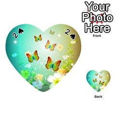 Flowers With Wonderful Butterflies Playing Cards 54 (Heart)