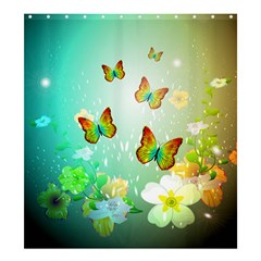 Flowers With Wonderful Butterflies Shower Curtain 66  x 72  (Large)