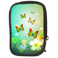Flowers With Wonderful Butterflies Compact Camera Cases