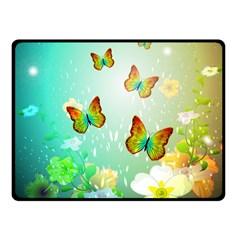 Flowers With Wonderful Butterflies Fleece Blanket (Small)