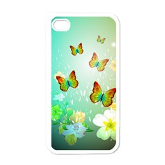 Flowers With Wonderful Butterflies Apple iPhone 4 Case (White)