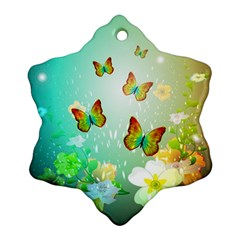 Flowers With Wonderful Butterflies Ornament (Snowflake)