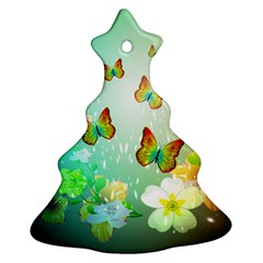 Flowers With Wonderful Butterflies Ornament (Christmas Tree)