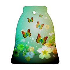 Flowers With Wonderful Butterflies Bell Ornament (2 Sides)