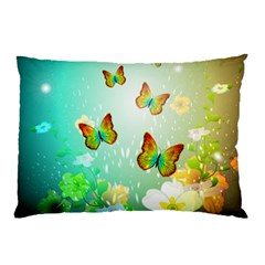 Flowers With Wonderful Butterflies Pillow Cases (Two Sides)