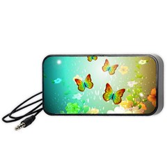Flowers With Wonderful Butterflies Portable Speaker (black)