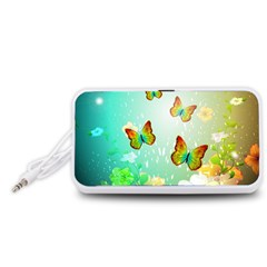 Flowers With Wonderful Butterflies Portable Speaker (white)