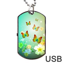 Flowers With Wonderful Butterflies Dog Tag Usb Flash (one Side)