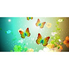 Flowers With Wonderful Butterflies You Are Invited 3d Greeting Card (8x4)