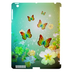 Flowers With Wonderful Butterflies Apple iPad 3/4 Hardshell Case (Compatible with Smart Cover)