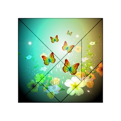 Flowers With Wonderful Butterflies Acrylic Tangram Puzzle (4  x 4 )