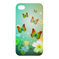 Flowers With Wonderful Butterflies Apple iPhone 4/4S Premium Hardshell Case