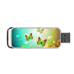 Flowers With Wonderful Butterflies Portable USB Flash (One Side)