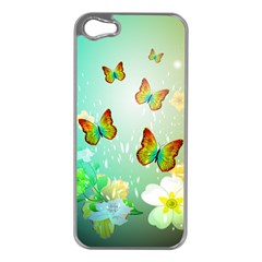 Flowers With Wonderful Butterflies Apple iPhone 5 Case (Silver)