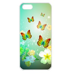 Flowers With Wonderful Butterflies Apple iPhone 5 Seamless Case (White)