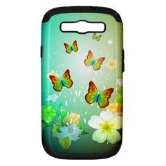 Flowers With Wonderful Butterflies Samsung Galaxy S III Hardshell Case (PC+Silicone)