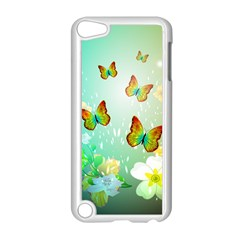 Flowers With Wonderful Butterflies Apple Ipod Touch 5 Case (white)