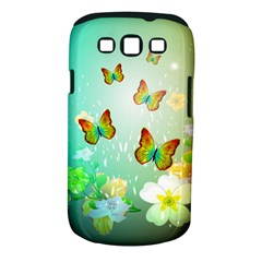 Flowers With Wonderful Butterflies Samsung Galaxy S III Classic Hardshell Case (PC+Silicone)