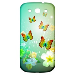 Flowers With Wonderful Butterflies Samsung Galaxy S3 S III Classic Hardshell Back Case