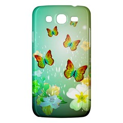 Flowers With Wonderful Butterflies Samsung Galaxy Mega 5.8 I9152 Hardshell Case