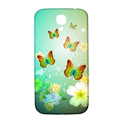 Flowers With Wonderful Butterflies Samsung Galaxy S4 I9500/I9505  Hardshell Back Case