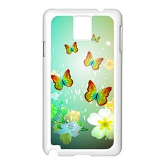 Flowers With Wonderful Butterflies Samsung Galaxy Note 3 N9005 Case (White)