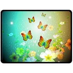 Flowers With Wonderful Butterflies Double Sided Fleece Blanket (Large)