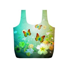 Flowers With Wonderful Butterflies Full Print Recycle Bags (S)