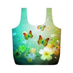 Flowers With Wonderful Butterflies Full Print Recycle Bags (M)